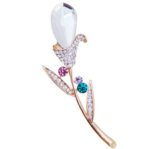 Trendy Rhinestoned Flower Brooch For Women - WHITE