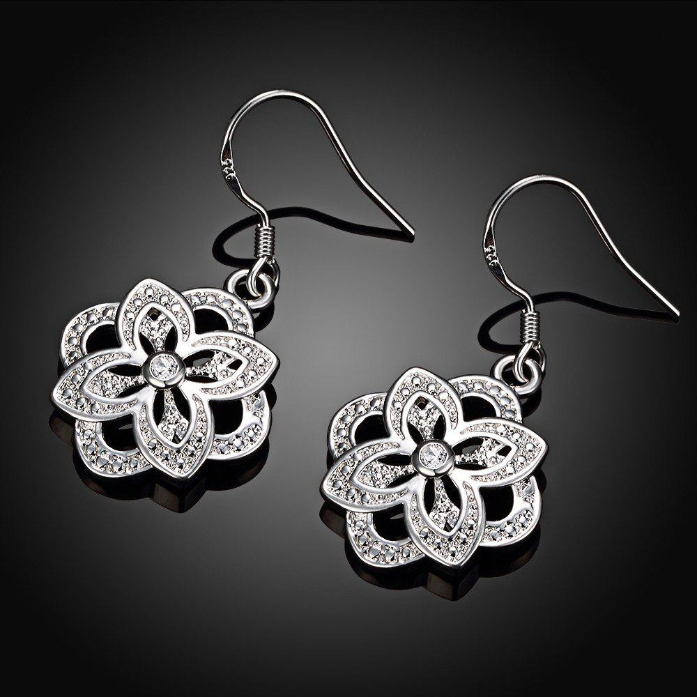 Floral Shape Zircon Design Silver Plated Drop Earrings - WHITE