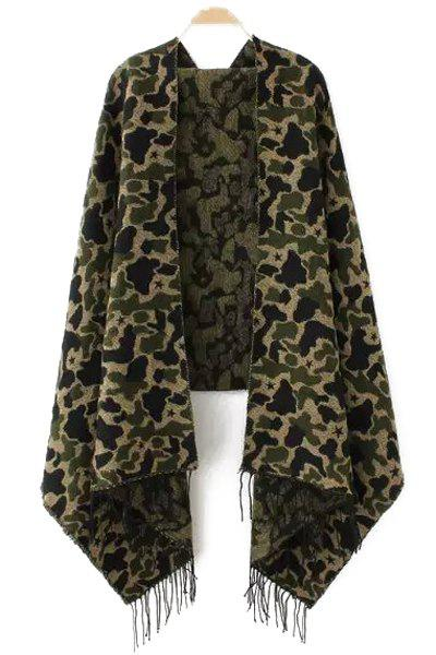 Chic Camouflage Pattern Tassel Winter Pashmina For Women - GREEN
