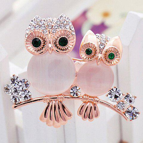 Rhinestoned Owl Flower Brooch - ROSE GOLD