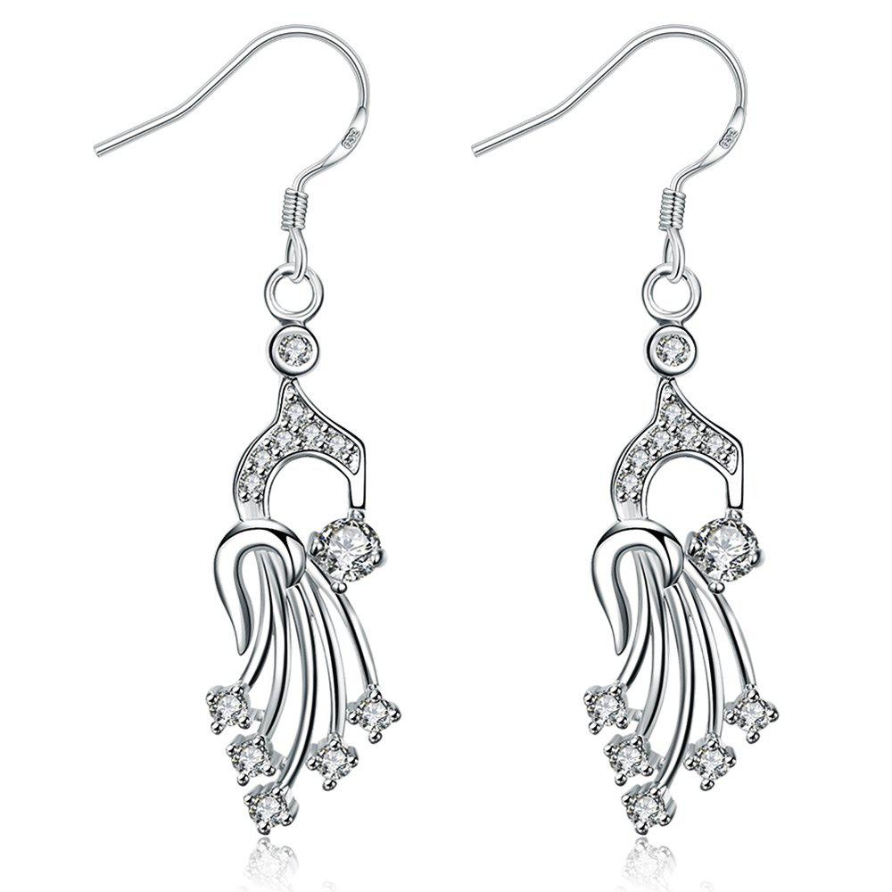 Rhinestone Silver Plated Hollow Out Drop Earrings -  WHITE