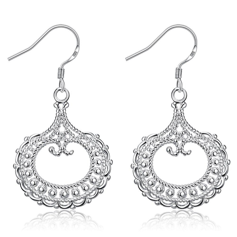 Pair of Round Shape Hollow Out Silvered Plated Drop Earrings