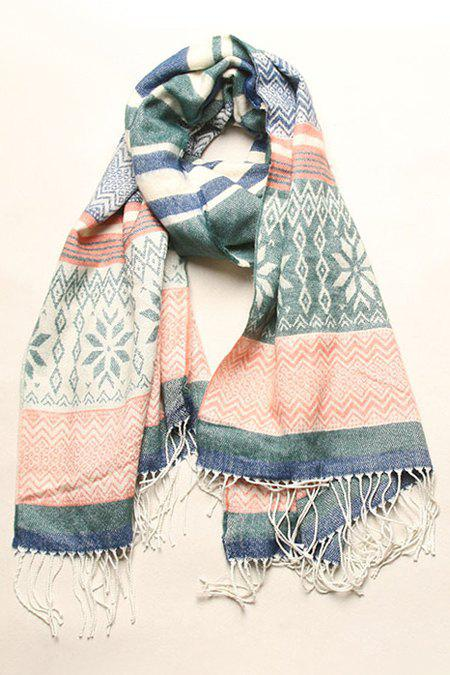 Chic Christmas Snowflake Pattern Tassel Scarf For Women - GREEN