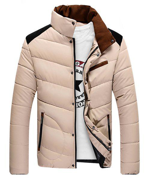 Color Block Splicing Design Stand Collar Long Sleeve Cotton-Padded Men's Jacket - OFF WHITE L