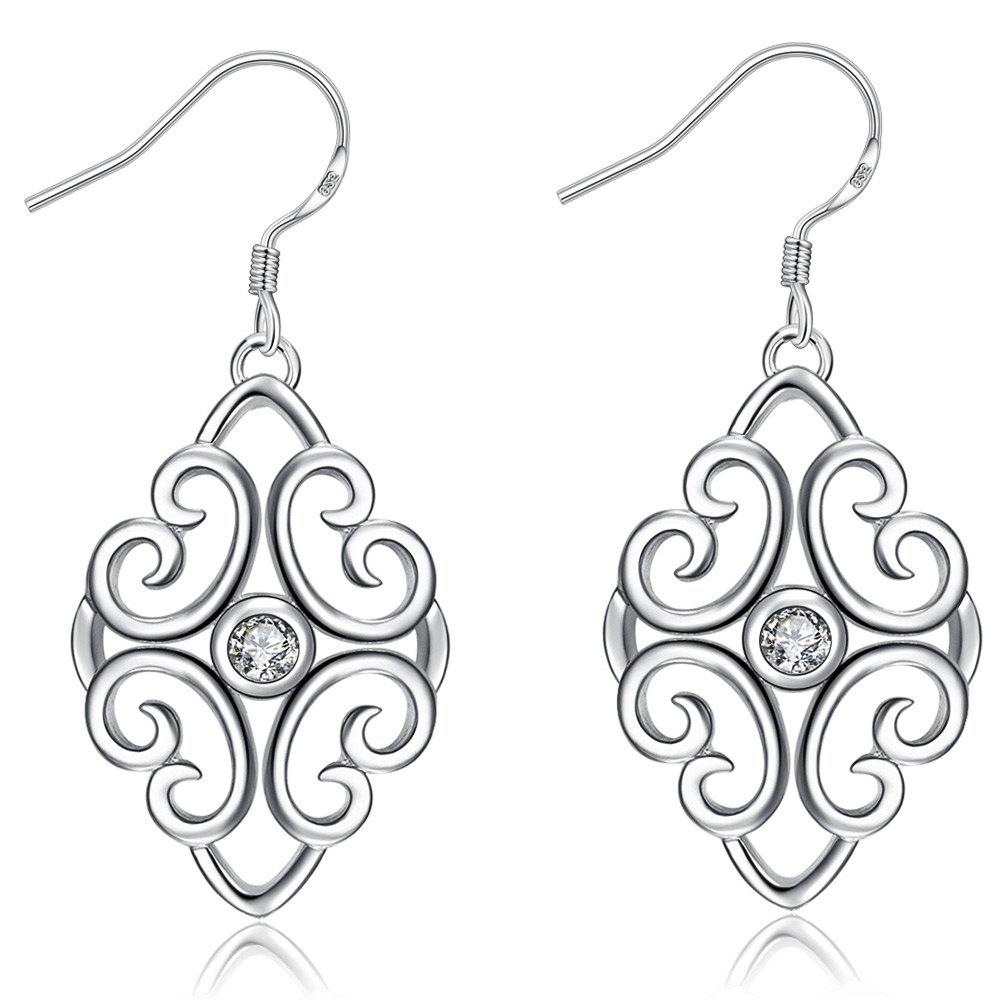 Trendy Geometric Shape Rhinestone Silver Plated Drop Earrings for Ladies - WHITE