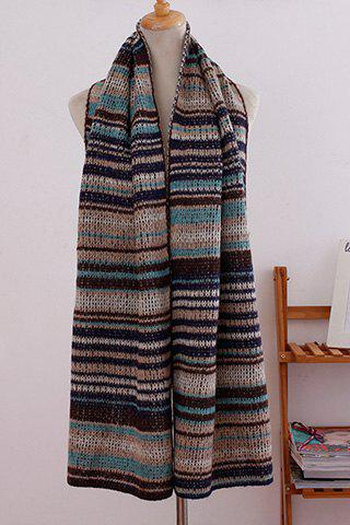 Chic Ombre Stripe Pattern Overlong Women's Scarf - BLUE