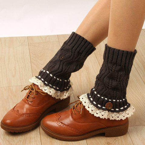 Pair of Chic Button Lace Rope Embellished Hollow Out Knitted Boot Cuffs For Women - DEEP GRAY