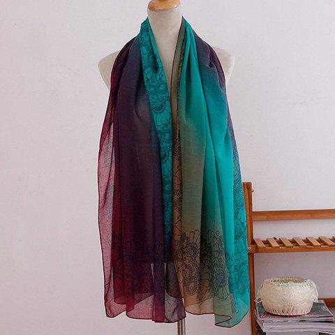 Fashionable Ombre Flowers Pattern Women's Scarf - GREEN