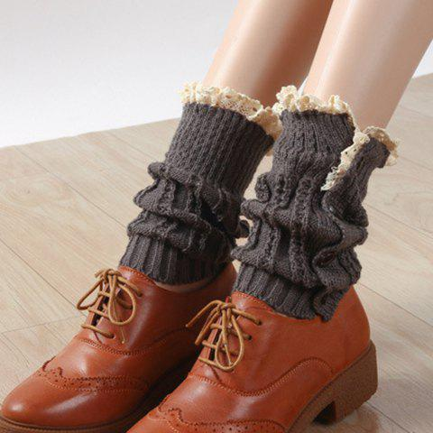 Pair of Chic Button and Lace Embellished Women's Knitted Boot Cuffs - DEEP GRAY