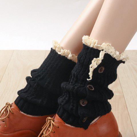 Buy Pair Chic Button Lace Embellished Women's Knitted Boot Cuffs BLACK