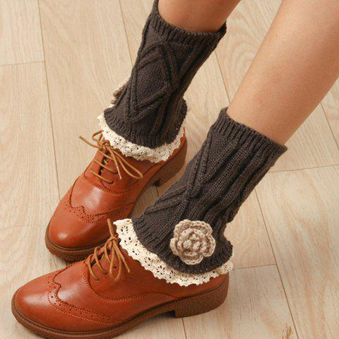 Pair of Chic Flower Shape and Lace Embellished Women's Knitted Boot Cuffs - COLOR ASSORTED