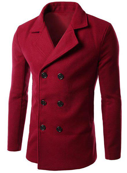 Solid Color Turn-Down Collar Long Sleeve Slimming Woolen Men's Peacoat - RED 3XL