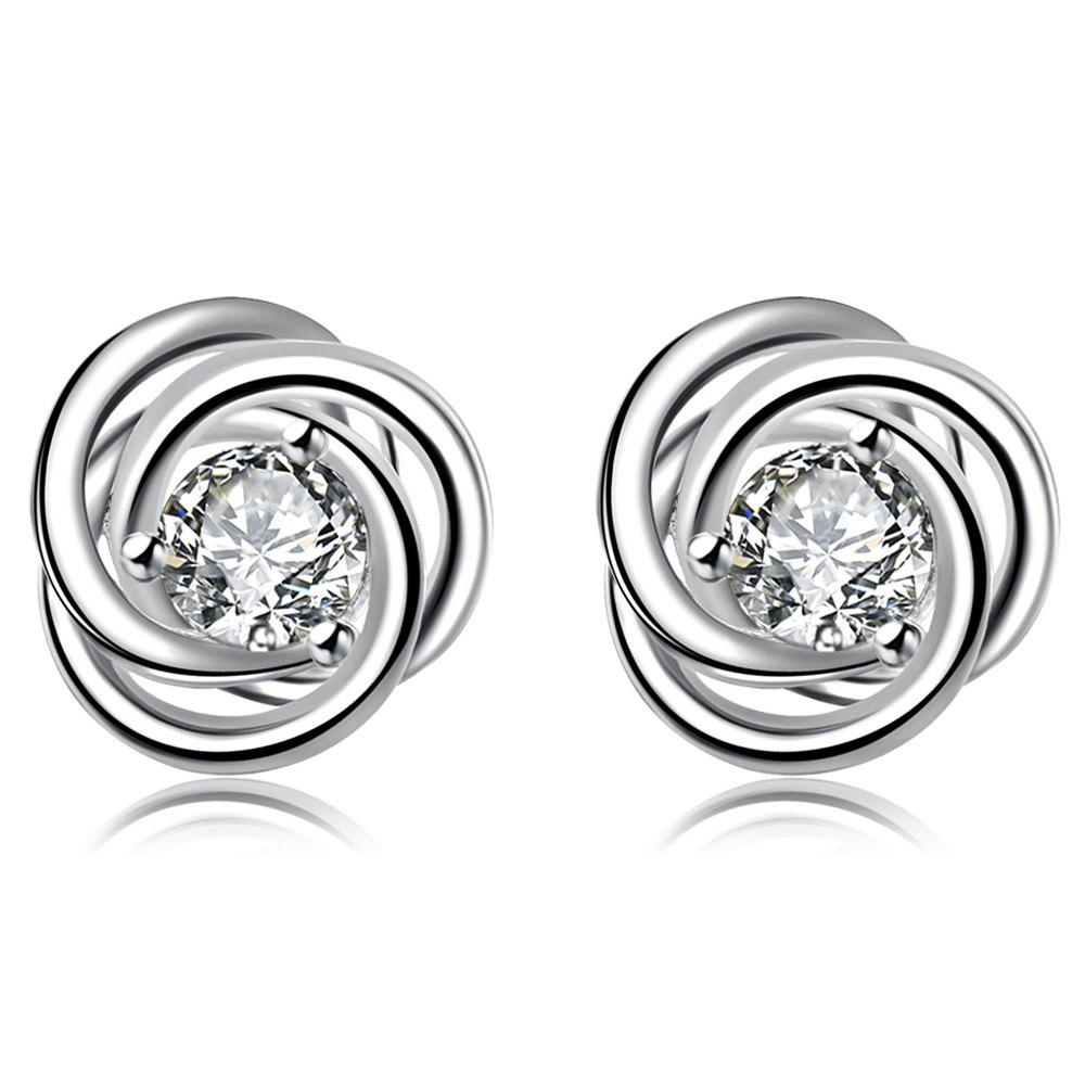 Trendy Round Shape Glitter Zircon Design Stud Earring for Women - WHITE