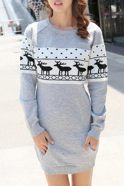 Trendy Jewel Neck Long Sleeve Christmas Sweater For Women - GRAY M