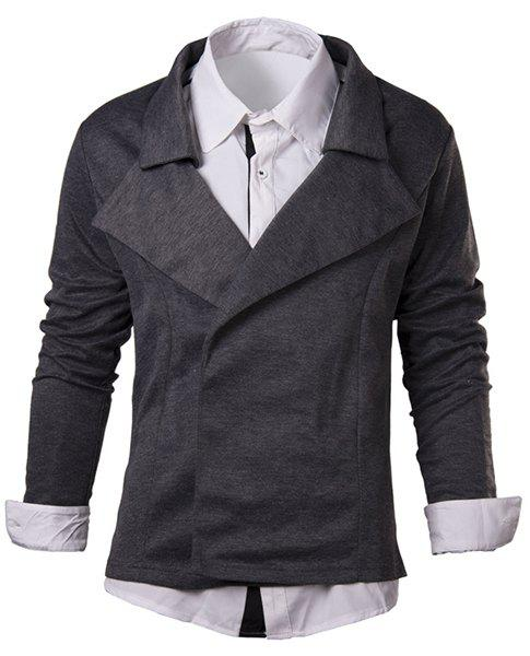 Slimming Turn-Down Collar Solid Color Long Sleeve Men's Cardigan - GRAY XL