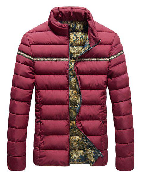 Braid Splicing Stand Collar Printed Lining Long Sleeve Men's Cotton-Padded Coat - RED 2XL