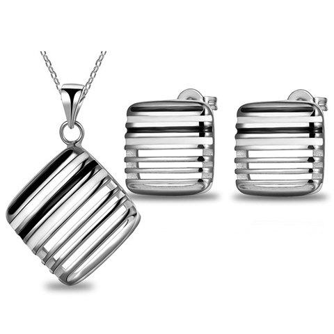 A Suit of Vintage Geometric Hollow Out Necklace And Earrings For Women