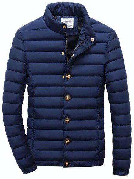 Solid Color Stand Collar Long Sleeve Men's Cotton-Padded Coat - CADETBLUE L