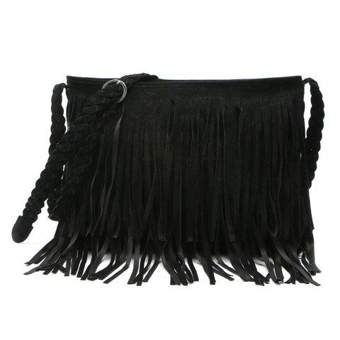 Stylish Fringe and Weaving Design Crossbody Bag For Women - BLACK