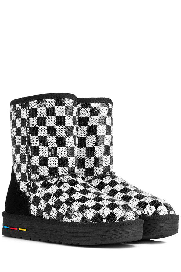 Fashion Sequined and Checked Design Women's Snow Boots - WHITE/BLACK 35