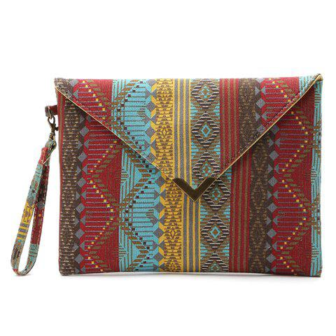 National Style Metal and Color Matching Design Women's Clutch Bag - RED