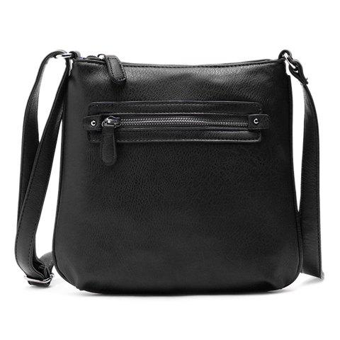 Concise Solid Color and Zipper Design Women's Crossbody Bag - BLACK