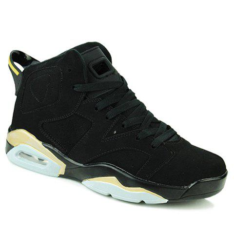 Stylish High-Top and Suede Design Athletic Shoes For Men - 40 BLACK / GLODEN