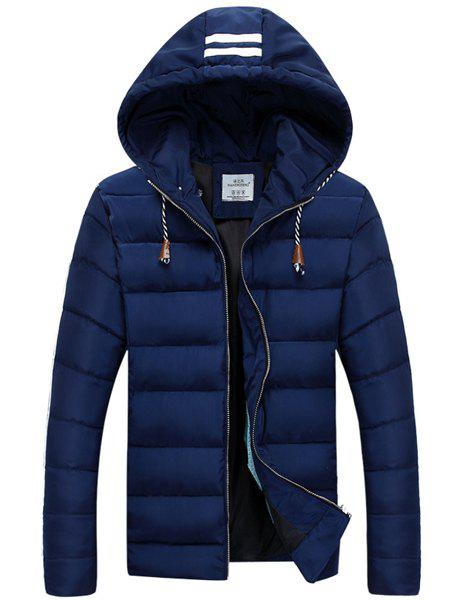 Drawstring Hooded Solid Color Long Sleeve Men's Cotton-Padded Coat - CADETBLUE XL