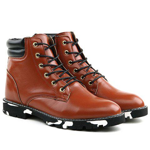 Stylish Stitching and Lace-Up Design Boots For Men - BROWN 44