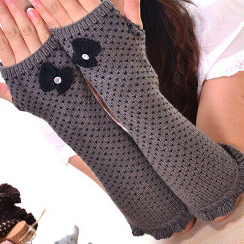 Pair of Chic Bow Embellished Heart Jacquard Knitted Fingerless Gloves For Women