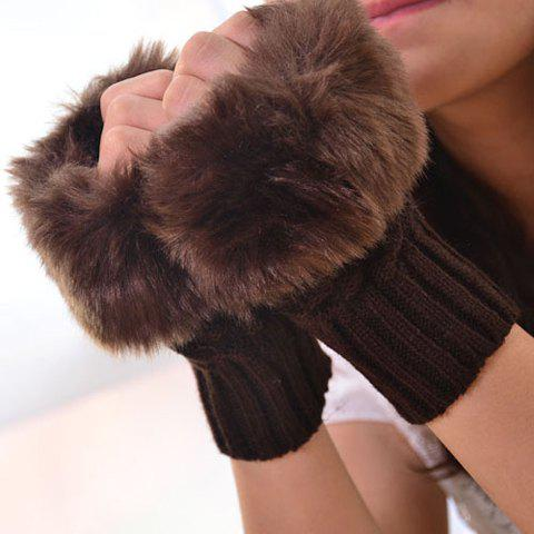 Pair of Chic Faux Fur Edge Embellished Short Knitted Fingerless Gloves For Women
