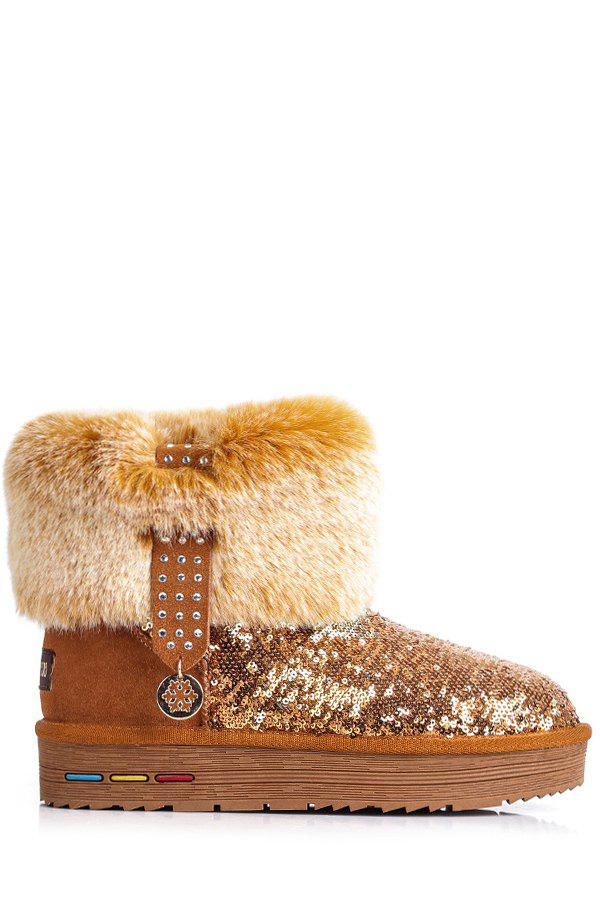 Stunning Sequined and Faux Fur Design Women's Snow Boots - MAROON 37