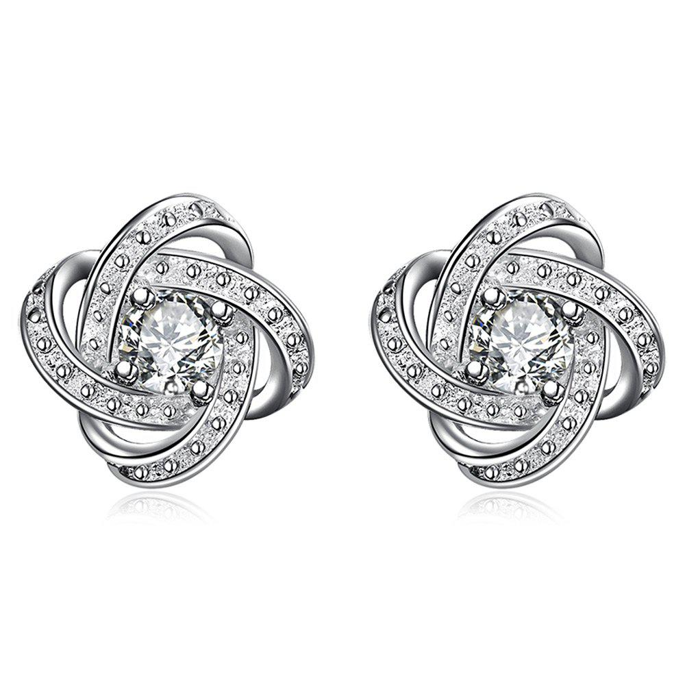 Pair of Classic Geometric Shape Silver Plated Stud Earrings for Women - WHITE