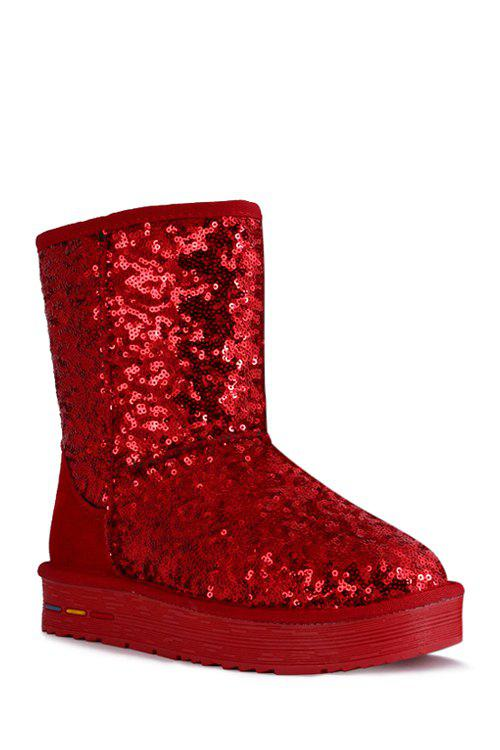 Stunning Sequined and Bling Bling Design Women's Snow Boots - RED 40