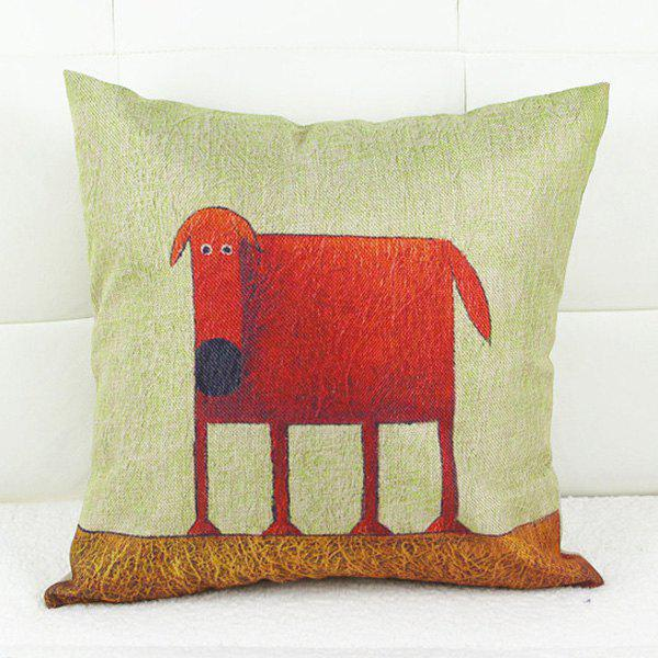 Modern Square Linen Dog Pattern Decorative Pillowcase(Without Pillow Inner) - COLORMIX