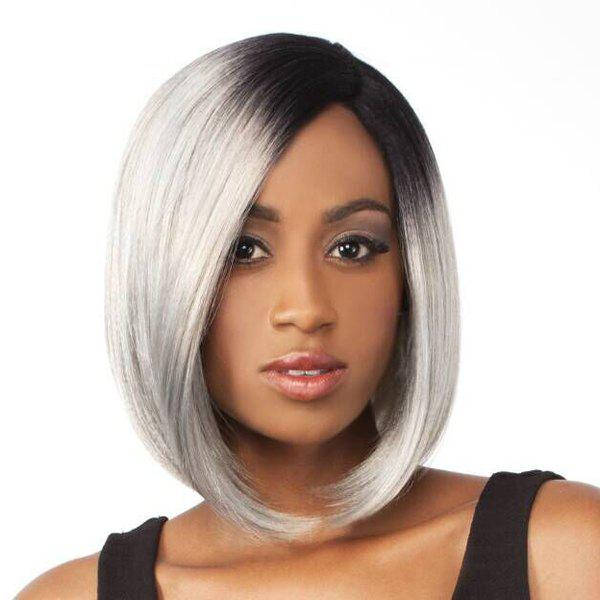 Stylish Straight Side Bang Capless Bob Style Grey Ombre White Medium Synthetic Women's Wig - OMBRE