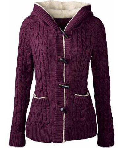 Women's Chic Long Sleeve Solid Color Hooded Cardigan - PURPLE M