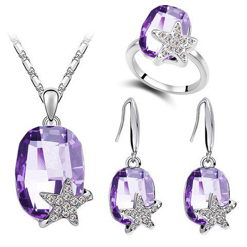 A Suit of Stylish Faux Crystal Star Necklace Ring And Earrings For Women - PURPLE ONE-SIZE