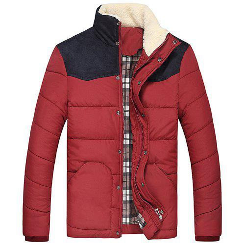 Splicing Design Flocking Stand Collar Long Sleeve Thicken Men's Cotton-Padded Jacket - RED 3XL