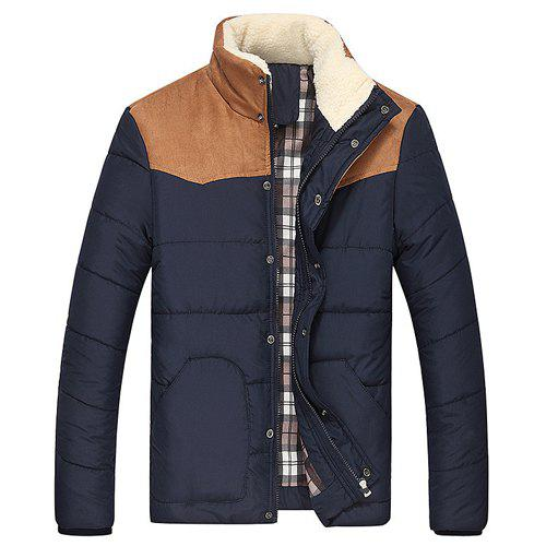 Splicing Design Flocking Stand Collar Long Sleeve Thicken Men's Cotton-Padded Jacket - CADETBLUE XL