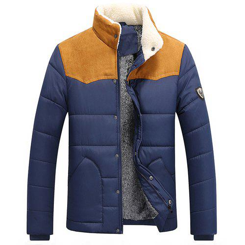 Splicing Design Flocking Stand Collar Long Sleeve Badge Men's Cotton-Padded Jacket - BLUE M