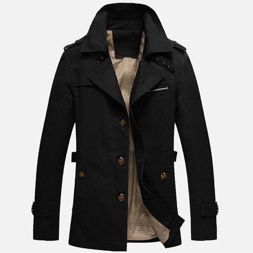 Single Breasted Epaulet Trench Coat - BLACK L