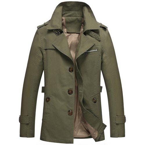 Turn-Down Collar Epaulet Design Single Breasted Long Sleeve Men's Trench Coat - ARMY GREEN XL