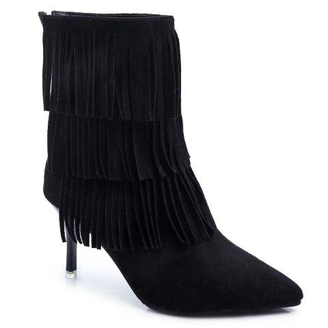 Fashionable Stiletto Heel and Pointed Toe Design Tassels Boots For Women - BLACK 37