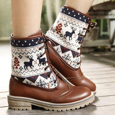 Stylish Engraving and Knitting Design Mid-Calf Boots For Women - BROWN 39