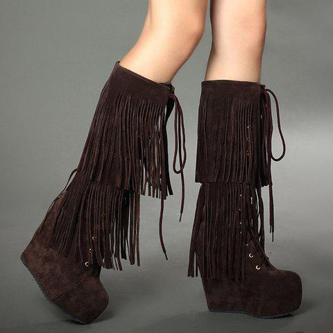 Stylish Suede and Fringe Design High Heel Boots For Women