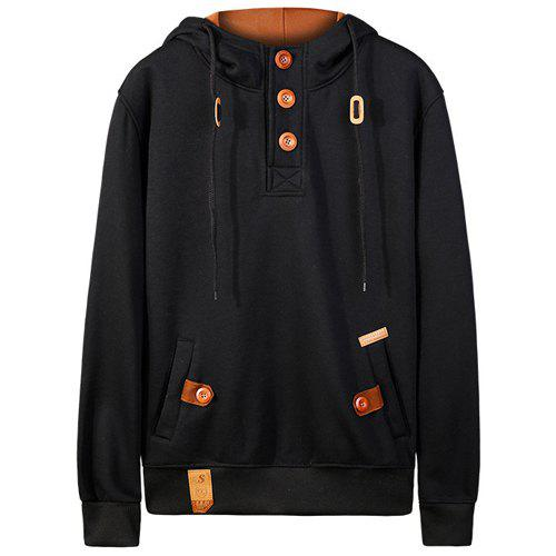 Hooded Drawstring Half Button Up Pullover Hoodie - BLACK M
