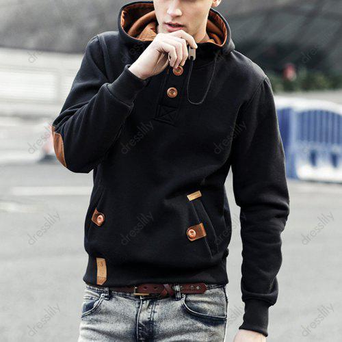PU-Leather Splicing Drawstring Hooded Button Embellished Long Sleeve Men's Hoodie
