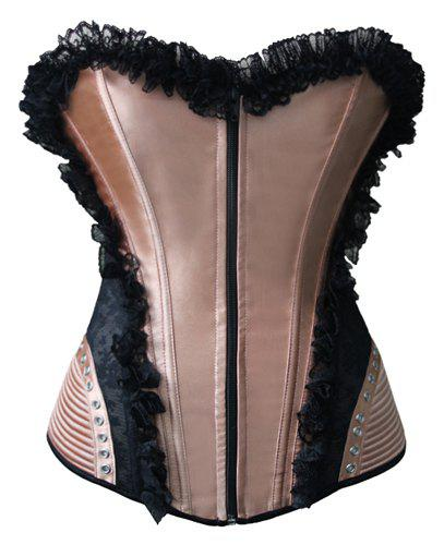Trendy Women's Laciness Bowknot Embellished Lace-Up Corset - BLACK / GLODEN M