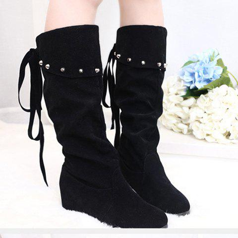 Stylish Rivet and Suede Design Mid-Calf Boots For Women - BLACK 35